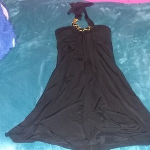 Above the knee flowy black dress